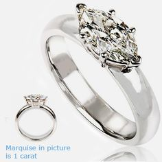 Diamonds-USA. East West Marquise Diamond Ring