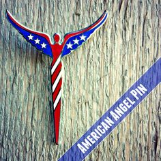Cool gift for military personnel or someone in public service. lavaggi.com #american #angel #flag #pin #jewelry #patriotic #lavaggi