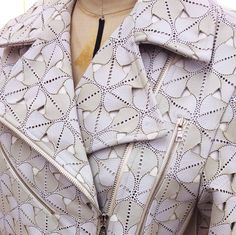 Sneak peak of the progress on my signature lazer cut leather Moto jacket #AliRose #Process #Fashion #Design