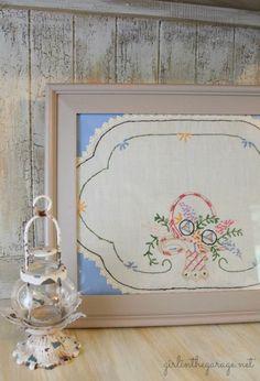 Vintage handkerchief framed as art... So pretty!  girlinthegarage.net