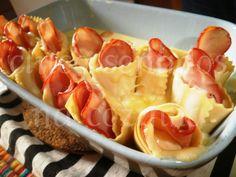 Lasanha enrolada com camarão e chourição - Cinco sentidos na Cozinha