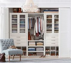Build Your Own - Sutton Modular Cabinets #potterybarn i would love to do this in the 2nd bedroom as a great dressing room, with reading area, harp, girly room