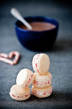 Candy cane and eggnogg macarons from Tartelette