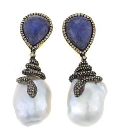 A pair of tanzanite, freshwater cultured pearl and diamond serpent motif earrings  freshwater baroque cultured pearls measuring approximately 23.0 x 18.5 x 12.1 and 24.3 x 19.1 x 12.4mm; estimated total pear-shaped faceted tanzanite cabochon weight: 16.00 carats; estimated total diamond weight: 3.00 carats; mounted in blackened silver and eighteen karat gold; length: 2 5/16