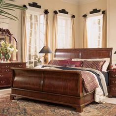 American Drew 791-306R Cherry Grove Sleigh Bed 6/6 available at Hickory Park Furniture Galleries