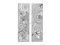 Printable Bookmarks, Zentangle Inspired DIY, Zendoodle Bookmarks to Print and Color, Printable Coloring Page, Digital Download, Sheet 6