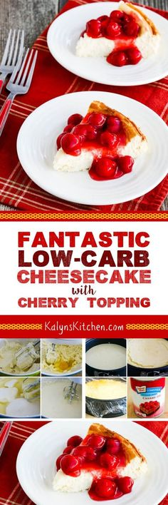 When you just need a treat, this Fantastic Low-Carb Cheesecake with Cherry Topping won't be too much of a carb splurge. If you don't want to use the cherry pie filling as a topping, top it with fresh berries instead. And this delicious cheesecake is also low-glycemic, gluten-free, and South Beach Diet friendly. [found on KalynsKitchen.com] #LowCarbCheesecake #LowCarbCherryCheesecake #LowCarbCherryCheesecake