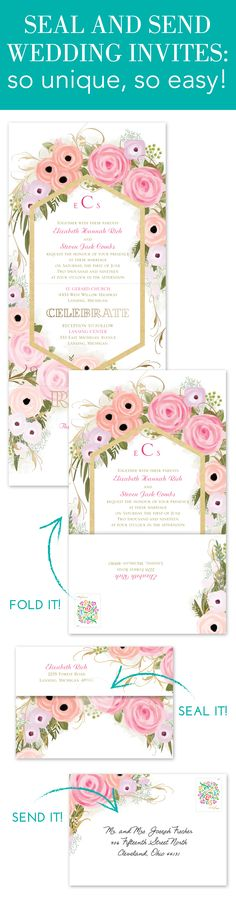No assembly party necessary! This smart design combines your wedding invitation and rsvp card into one piece. Simply fold, seal and send. You don't even need an envelope!