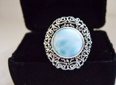 Designer Sterling Silver 925 Dominican Republic Larimar Scroll Filigree Ring 5 #Handmade #Statement