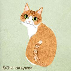 Cats works - Chie Katayama Illustration Animals And Pets, Cute Animals, Cat Aesthetic, Cute Art Styles, Cat Drawing, Animal Drawings, Cat Art, Cute Cats, Illustration Art