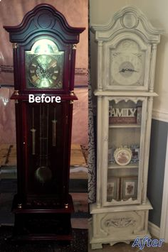 Make this with regular clock.Grandfather Clock before and after. Annie Sloan Chalk Paint in coco, duck egg, french linen, topped with old ochre, then clear waxed. Chalk Paint Furniture, Old Furniture, Refurbished Furniture, Repurposed Furniture, Shabby Chic Furniture, Furniture Projects, Furniture Makeover, Dresser Makeovers, Distressed Furniture