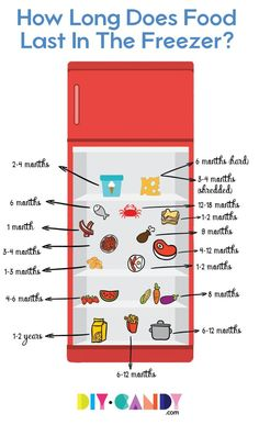 How long does food last in the freezer? Find out how long you can store and eat meat, veggies, ice cream, dairy, desserts, and more! via @diy_candy