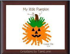 Pumpkin Handprint  Personalized by CreationsbyTamiLynn on Etsy, $25.00