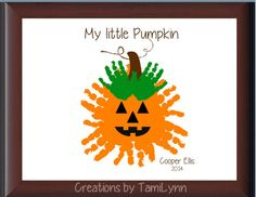 Pumpkin Handprint  Personalized by CreationsbyTamiLynn on Etsy, $25.00