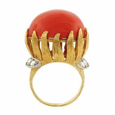 Vintage Ruser Coral & Diamond Ring in 18K Gold & Platinum  | Circa 1960s