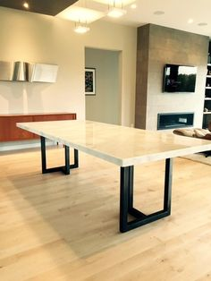 Custom Calcutta Marble and Steel Dining Table | Sarabi Studio More