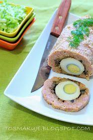 To smakuje: Soczysty klops z jajkiem i pieczarkami (Wielkanoc) Salmon Burgers, Food And Drink, Ethnic Recipes