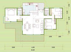 Plano de casa de madera con 3 dormitorios Cabana, Innovation, House Plans, 1, Floor Plans, How To Plan, Architecture, Home, Sushi