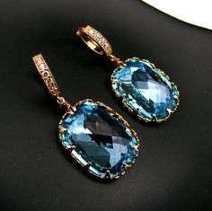 Aqua rectangle vintage aquamarine swarovski foiled back crystal rhinestone and cubic zirconia deco vermeil hoop earrings - Free US shipping