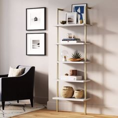 The open-shelving structure will add visual space for your home to glam up any room with its sleek white shelves and brushed brass metal gold frame. This easy-to-assemble wall mount bookshelf provides ample storage and display space. Gold Bookshelf, Wall Mounted Bookshelves, Gold Shelves, White Bookshelves, Modern Bookcase, White Shelves, Bookshelves Kids, Ladder Bookcase, Ikea Wall Shelves