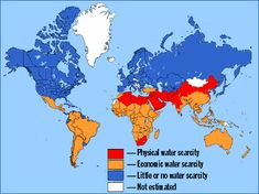 water shortage map showing regions where water scarcity occurs
