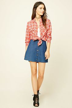Snap-Button Plaid Shirt | Forever 21 - 2000197852