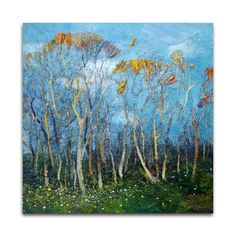 Trees oil painting, original landscape painting on stretched canvas, impressionist style art by AMINOVART on Etsy https://www.etsy.com/listing/226287398/trees-oil-painting-original-landscape