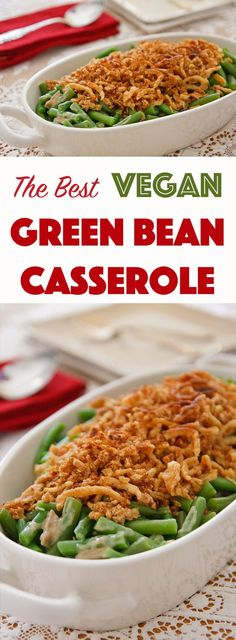 This is absolutely the freshest tasting green bean casserole, and it just so happens to be vegan. Perfect for the holidays!
