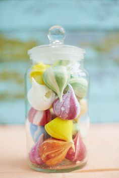 """A jar of colourful meringues from Meringue Girls.  For more Alternative Wedding inspiration, check out the No Ordinary Wedding article """"20 Quirky Alternatives to the Traditional Wedding""""  http://www.noordinarywedding.com/inspiration/20-quirky-alternatives-traditional-wedding-part-2"""