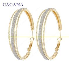 CACANA Gold Plated Hoop Long Earrings Round Within 2ring