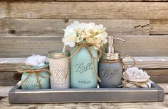 THIS SET IS FULLY CUSTOMIZABLE!! I can do any of my available colors in any combination! I also offer oil rubbed bronze finish for no extra charge!! To order just leave me a note at checkout in the notes to seller box with your color choices for jars and finish for your pump!! The colors pictured are Seafoam Blue, Mineral Gray and Antique White. The Soap Pump is high quality stainless steel!!! This Set Includes: One Quart Flower Vase One Pint Soap Dispenser One 12 oz Quilted Jelly Jar One...