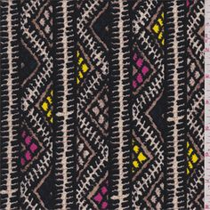 Black, soft brown, cream, hot pink, lemon yellow and dark blue vertical chevron stripe print. Thislight/medium weight polyester knit fabric has amplestretch and recovery.Compare to $10.00/yd