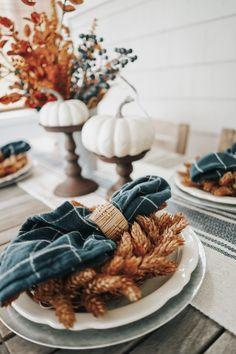 Blue + Earth-Toned Fall Tablescape - The February Fox Thanksgiving Decorations, Seasonal Decor, Thanksgiving Table, Autumn Decorations, House Decorations, Holiday Decor, Fall Home Decor, Autumn Home, Blue Fall Decor