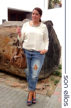 Boyfriend jeans and girly heels