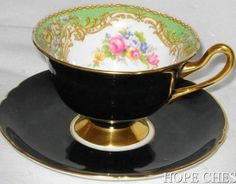 SHELLEY Gainsborough GREEN REGAL BLACK GOLD TEA CUP AND SAUCER