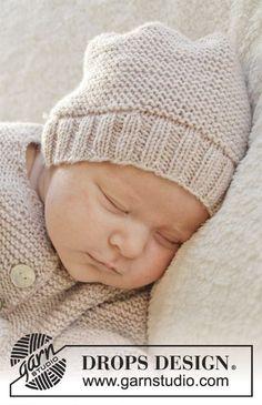 """Gebreide DROPS muts in ribbelst van """"Baby Merino"""". Maat prematuur tot 4 jaar. ~ DROPS Design"""