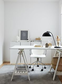 Serene white Scandinavian home office