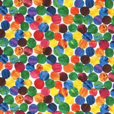To make the kids a gender neutral bedroom: The Very Hungry Caterpillar Dots by Eric Carle for Andover Fabrics Eric Carle, Hungry Caterpillar Party, Caterpillar Cake, Andover Fabrics, Polka Dot Fabric, Polka Dots, Chenille, 1st Birthday Parties, Birthday Ideas