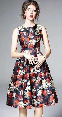 Fashion O-Neck Sleeveless Floral Print Skater Dress