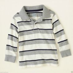 TCP Baby/Toddler Boy's Nice Gray/Black/White Striped Long Sleeve Polo - Sz 4T