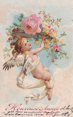 Lovely old postcard Vintage Valentine Cards, Vintage Greeting Cards, Vintage Postcards, Vintage Pictures, Vintage Images, Vintage Illustration, Etiquette Vintage, Angel Pictures, Decoupage Vintage