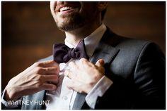 Detail photo of groom getting ready. Purple bowtie. South Jordan Utah Wedding Photographer
