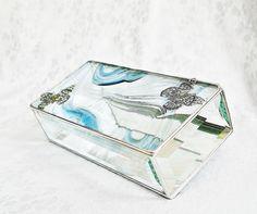 Slate Blue Baroque Stained Glass Box 4x8 w/ Two by GaleazGlass, $42.00