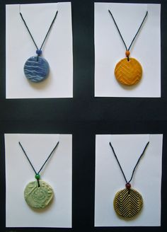 I do this with my K's, but I like this display better. pendant made by stepping on clay- good introduction to clay- easy, quick, simple, and exciting.