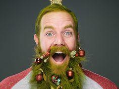 Fotografías de barbas decoradas como un árbol de navidad