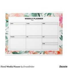 Floral Weekly Planner Notepad  #planner #organise #bulletjournal  journal #office #weekly #study, #student #minimal #art #cool #notepad #zazzle #floral
