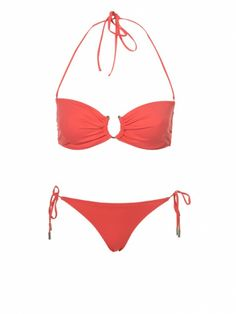 Topshop coral bikini, $24 for top and $16 for bottom at topshop.com