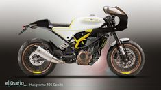 "Husqvarna 401 ""Cando"" Cafe Racer design by el0sario #motorcycles #caferacer #motos | caferacerpasion.com Moto Cafe, Cafe Racer Motorcycle, Bobber Custom, Sportbikes, Scrambler, Vehicles, Engine, Motorcycles, Bicycles"