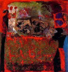 """Antoni Clavé Sanmartí (1813 - 2005). """"La nappe rouge, 1963"""". Óleo sobre balatum. 120 x 111 cm. Colección A. de Domenico. Cannes. Francia."""