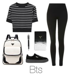 """School with Bts"" by infires-jhope on Polyvore featuring Topshop, Puma, Denik and Montblanc"